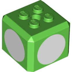 LEGO part 66855pr0001 Brick Special Cube with 2 x 2 Studs on Top, and White Circles Print in Bright Green