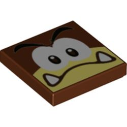 LEGO part 3068bpr0549 Tile 2 x 2 with Goomba Confused print in Reddish Brown