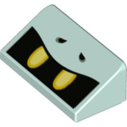 LEGO part 85984pr0027 Slope 30° 1 x 2 x 2/3 with Open Black Mouth, Yellow Teeth print in Aqua/ Light Aqua