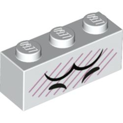 LEGO part 3622pr0064 Brick 1 x 3 with Black Eyes, Eyebrows, Bright Pink Lines print in White