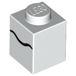 LEGO part 3005pr0063 Brick 1 x 1 with Black Scribble Line print in White