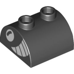 LEGO part 30165pr0005 Brick Curved 2 x 2 with Two Top Studs with White Eye, Big Teeth Smile print in Black