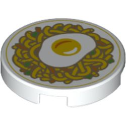 LEGO part 14769pr1219 Tile Round 2 x 2 with Fried Egg, Noodles print in White