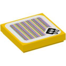 LEGO part 3068bpr9722 FLAT TILE 2X2, W/ STICKER NO. 109 in Bright Yellow/ Yellow