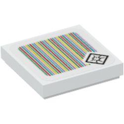LEGO part 3068bpr9723 FLAT TILE 2X2, W/ STICKER NO. 114 in White