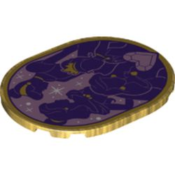 LEGO part 65474pr0008 Tile 6 x 8 with Rounded Corners with Belle/Cinderella/Tiana/Ariel Silhouette print in Warm Gold/ Pearl Gold