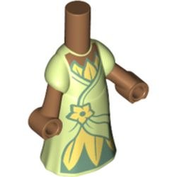 LEGO part 66565pr0019 Microdoll Body Long Dress with Yellowish Green Dress, Dark Green Under Dress, Bright Light Yellow Flower in Spring Yellowish Green/ Yellowish Green