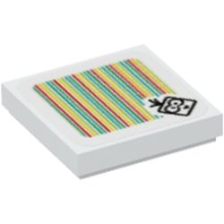 LEGO part 3068bpr9735 Tile 2 x 2 with Groove with Lakitu and Barcode Print (Sticker) in White