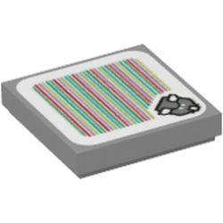 LEGO part 3068bpr9718 FLAT TILE 2X2, W/ STICKER NO. 123 in Medium Stone Grey/ Light Bluish Gray