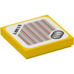 LEGO part 3068bpr9716 FLAT TILE 2X2, W/ STICKER NO. 128 in Bright Yellow/ Yellow