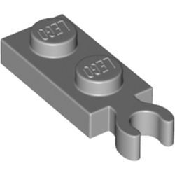 LEGO part 78256 Plate Special 1 x 2 with Clip Vertical on End in Medium Stone Grey/ Light Bluish Gray