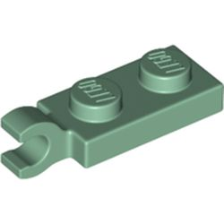 LEGO part 63868 Plate Special 1 x 2 with Clip Horizontal on End in Sand Green