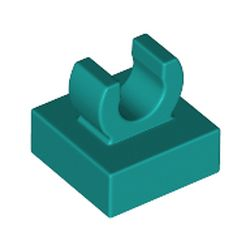 LEGO part 44842 Tile Special 1 x 1 with Clip with Rounded Edges in Bright Bluish Green/ Dark Turquoise