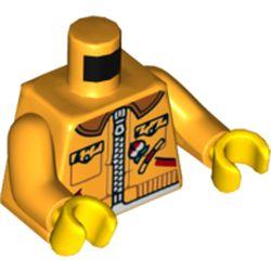 LEGO part 973pr5723c01 MINI UPPER PART, NO. 5723 in Flame Yellowish Orange/ Bright Light Orange