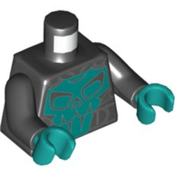 LEGO part 973c03h46pr5765 MINI UPPER PART, NO. 5765 in Black