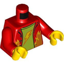 LEGO part 973c22h01pr5737 Torso Shirt, Open with Flames, Lime Undershirt with Lightning Bolt Print, Red Arms, Yellow Hands in Bright Red/ Red