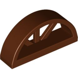 LEGO part 20309 Window 1 x 4 x 1 2/3 with Spoked Rounded Top in Reddish Brown