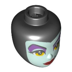 LEGO part 79731 Minidoll Head Light Aqua Face, Dark Pruple Eyeshadow, Yellow Eyes, Dark Red Lips (Malificent) in Black