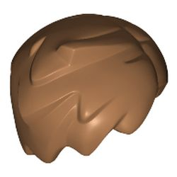 LEGO part 20597 Minifig Hair Short Tousled with Side Part and Lock Sticking Up in Medium Nougat