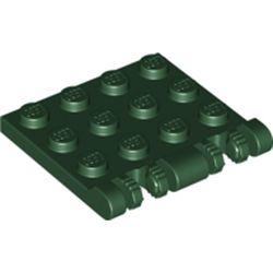 LEGO part 50337 Hinge Plate 3 x 4 Locking Dual 2 Finger, 7 teeth in Earth Green/ Dark Green