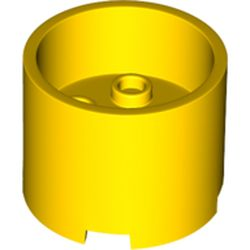 LEGO part 73111 Brick Round 3 x 3 x 2 with Recessed Center with 2 x 2 Studs and Axle Hole in Bright Yellow/ Yellow
