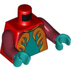 LEGO part 973c10h46pr5758 MINI UPPER PART, NO. 5758 in Bright Red/ Red