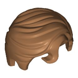 LEGO part 76782 Minifig Hair Swept Right with Front Curl in Medium Nougat