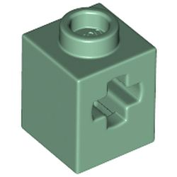 LEGO part 73230 Brick 1 x 1 with Axle Hole in Sand Green