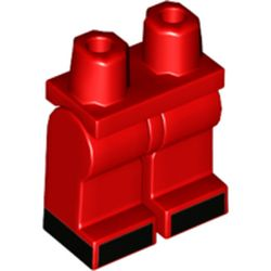 LEGO part 970c00pr2145 Legs and Hips, Black Shoes print in Bright Red/ Red