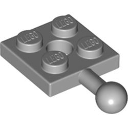 LEGO part 67324 Plate Special 2 x 2 with Towball and Hole in Medium Stone Grey/ Light Bluish Gray