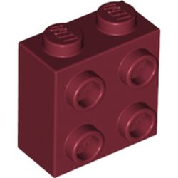 LEGO part 22885 Brick Special 1 x 2 x 1 2/3 with Four Studs on One Side in Dark Red