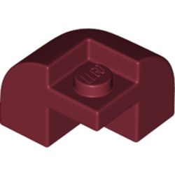 LEGO part 67810 Brick Curved 2 x 2 x 1 1/3 with Curved Top - Corner in Dark Red