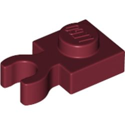 LEGO part 60897 Plate Special 1 x 1 with Clip Vertical [Thick Open O Clip] in Dark Red
