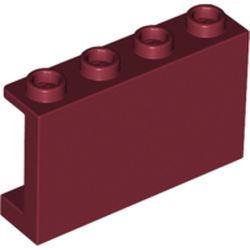 LEGO part 14718 Panel 1 x 4 x 2 with Side Supports - Hollow Studs in Dark Red