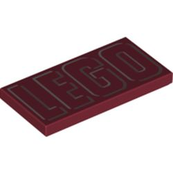 LEGO part 87079pr0256 Tile 2 x 4 with White 'LEGO'  print in Dark Red