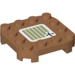 LEGO part 66792pr0125 PLATE 4X4X2/3, W/ STICKER 125 in Medium Nougat