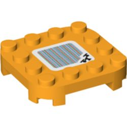 LEGO part 66792pr0142 PLATE 4X4X2/3, W/ STICKER NO. 142 in Flame Yellowish Orange/ Bright Light Orange