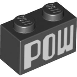 LEGO part 3004pr0077 Brick 1 x 2 with White 'POW' print in Black