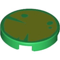 LEGO part 14769pr1222 Tile Round 2 x 2 with Leaf / Water Lily print in Dark Green/ Green