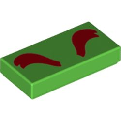 LEGO part 3069bpr0339 Tile 1 x 2 with Dark Red Eyebrows print in Bright Green