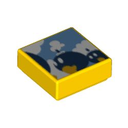 LEGO part 3070bpr0259 Tile 1 x 1 with Walking Bombs print (Super Mario Bob-Omb Battlefield) in Bright Yellow/ Yellow