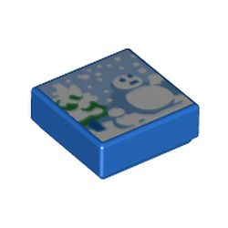 LEGO part 3070bpr0260 Tile 1 x 1 with Snowman, Trees print (Super Mario Cool, Cool Mountain) in Bright Blue/ Blue