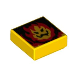 LEGO part 3070bpr0261 Tile 1 x 1 with Flame, Face print (Super Mario Lethal Lava Land) in Bright Yellow/ Yellow