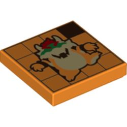 LEGO part 3068bpr0553 Tile 2 x 2 with Browser print in Bright Orange/ Orange
