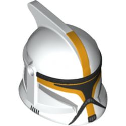 LEGO part 61189pr0354 Minifig Helmet Clone Trooper with Holes with Bright Light Orange Clone Pilot Print in White