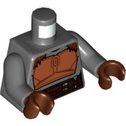 LEGO part 973c12h19pr5777 MINI UPPER PART, NO. 5777 in Dark Stone Grey / Dark Bluish Gray
