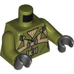 LEGO part 973c20h03pr5781 MINI UPPER PART, NO. 5781 in Olive Green