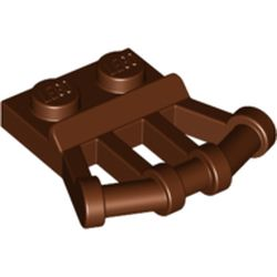 LEGO part 92692 Plate Special 1 x 2 with Angled Handles on Side in Reddish Brown