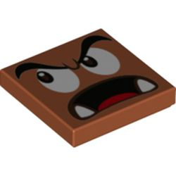 LEGO part 80050 Tile 2 x 2 with Groove with Goomba Face Looking Right with Open Mouth Print in Dark Orange