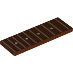 LEGO part 69729pr0004 Tile 2 x 6 with Guitar Finger Board, Frets, Position Markers print in Reddish Brown